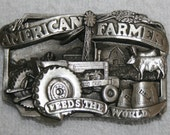 Siskiyou 1983 The American Farmer Feeds The World Farm Tractor Pewter Belt Buckle E-27