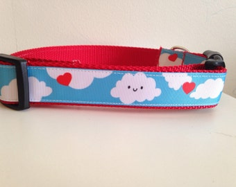 Red and Blue Happy Clouds and Hearts Large 1 inch Dog Collar