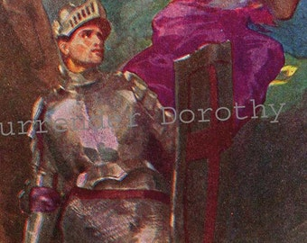 Young Knight  Vintage Lithograph Adventure Illustration To Frame 1930s