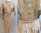 Slub SILK Day Dress, Vintage 1940's Early 1950's in Fabulous ATOMIC FLORAL Print, Size 10-12