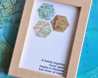 Father's Day Gift Personalized Map Distance Family Map Art Custom Framed Geometric Hexagon Recycled Maps