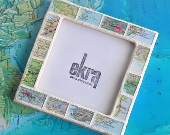 Personalized Mens Atlas Map Photo Picture Frame Personalized by You Custom Made 4x4 Square Frame