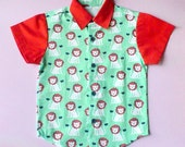Little Boy Shirt - Arthur Collared Button Shirt (Green Orange Lions)
