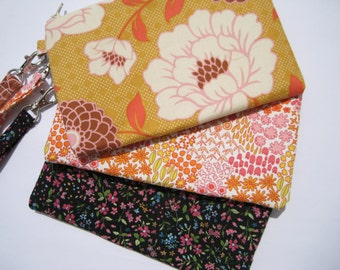 Wedding Clutch 2 pockets,medium,orange,yellow,flowers,cotton,discount plan set,