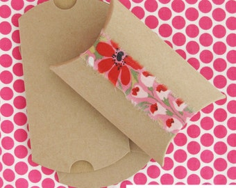 Kraft Pillow Boxes | 25 Packaging Boxes 3.5 x 3 x 1 Inch | Kraft Paper Wedding Party Favor Gift Boxes