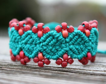 Micro-Macrame Beaded Hemp Cuff Bracelet - Meadow Green with Coral and Pomegranate Beads
