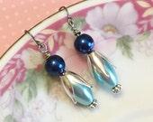 Blue Pearl Earrings, Blue Flower Earrings, Blue Pearl Drop Earrings, Blue Dangle Earrings, Blue Beaded Earrings