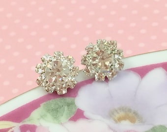 Rhinestone Earrings, Rhinestone Flower Earrings, Rhinestone Flower Studs, Bridesmaid Gift Earrings, Glass Flower Earrings (SE4)