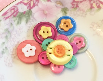 Flower Magnet Set, Button Flower Magnets, Colorful Flower Magnets, Flower Office Decor, Flower Home Decor, Handmade By KreatedByKelly