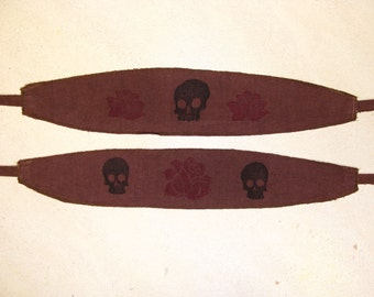 Skulls and Roses Headband -  Organic Cotton and Hemp headband, great for dreads too - handmade dyed and printed, you choose print and color