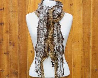 Ursula BR05, an Everyday Scarf in browns handwoven and felted by me