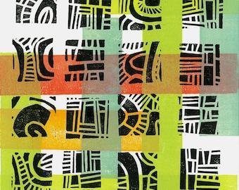 "LINOBLOCK PRINT - Mod Pattern 7 - Mid Century Modern Linoleum Block Print 6""x6"""