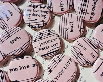 Vintage Inspired Soft Pink Parchment Paper Handmade Wedding Favors - 100 1 Inch Pinback Buttons - Love Songs