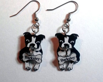 3D Boston Terrier Earrings Customized Personalized with Your Dogs Name on Dangling Bone