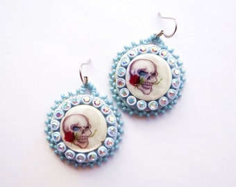 Blue Beaded Skull Earrings