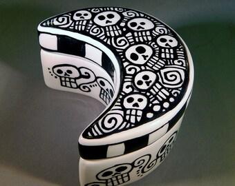 Day of the Dead - Sugar Skulls - Ceramic Pottery Clay Moon Wish Box