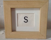 Personalised Initial Letter S Hand Embroidered Framed Wall Art