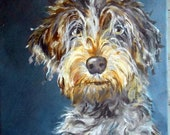 Portrait of a Wirehaired Pointing Griffon or any breed, oil painting by artist Robin Zebley, Custom Pet Portrait