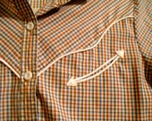 Women's Vintage 1970s Gingham Red Blue Brown Country Western Levi's Shirt Cowgirl Rodeo Hipster