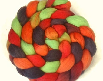 Handpainted Superfine Merino Wool Roving - 4 oz. DRAGON SCALES - Spinning Fiber