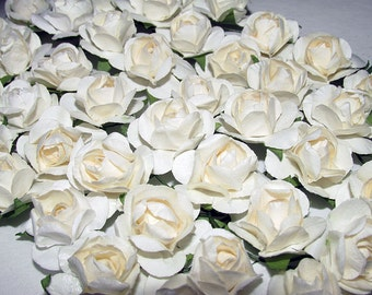 Ivory Mulberry Paper Roses Mini Rose Buds Small Six Dozen