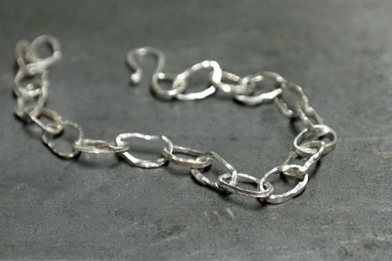 Handmade Hammered sterling silver link bracelet, charm bracelet, made to order