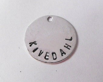 CIRCLE 12mm Shiny Silver Plated Metal Jewelry Tags stamped with your brand letters designer initials shop name - 100 tags