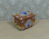 Dollhouse Miniature Jeweled & Beaded Cedar Chest/Box
