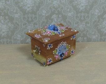 Dollhouse Miniature Jeweled & Beaded Cedar Chest/Box
