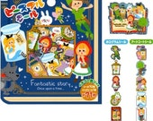 MIND WAVE Fantastic Story Fairy Tale Sticker Sack with Peter Pan, Little Red Riding Hood, and Alice in Wonderland