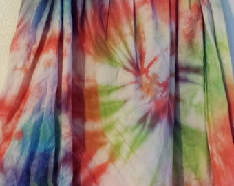 Rainbow Yoga Waist TieDye Skirt Made from Vintage Material Size Large