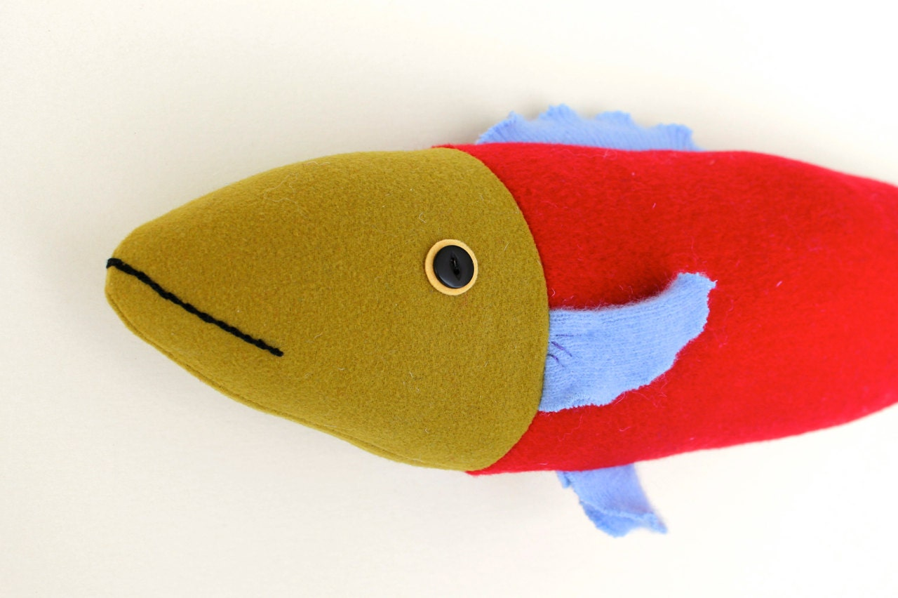 Bright red and olive wool fish pillow doll cabin ocean decor for Fish body pillow