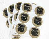 Woodland Owl Kraft Stickers (1.67 inch, 24 labels, 1 color)