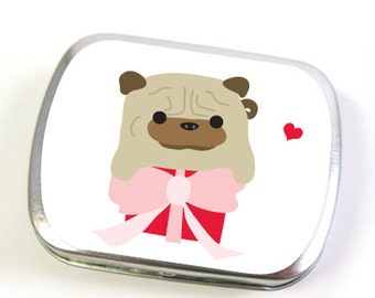 Pug Ball-Z on a Gift Box - Mint Tin Box, Hinged Tin, Pill Box (small or large)