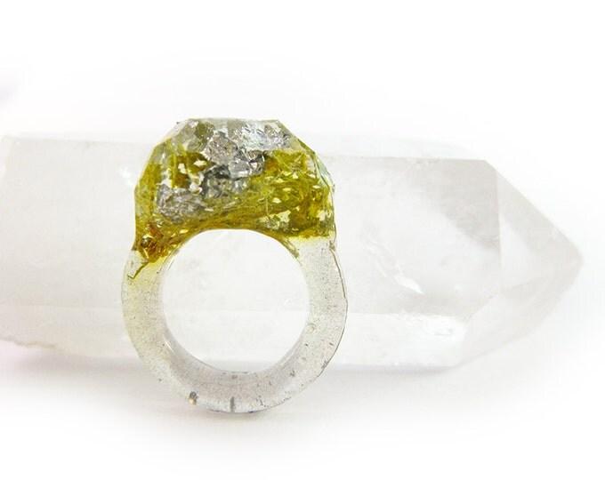 Terrarium + Silver Leaf Resin Ring • Size 7.5