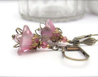 Rose Flower Earrings, Vintage Flowers, Swarovski Crystal, Bohemian Earrings, Steampunk Wedding