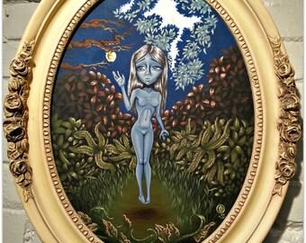 The Golden Apple-Big Eye Pop Surrealism Original Acrylic Painting 12x16-By Alexandria Sandlin Cherrybones