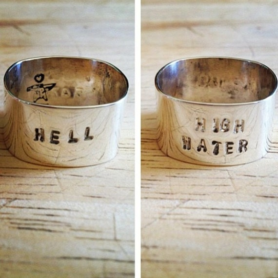 double sided cigar band hand stamped band, customizable for him and her