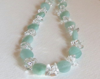 Pastel Green Quartz and Clear Quartz Necklace with  Sterling Silver Clasp,  Smokeylady54