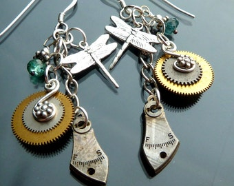 Dragonfly Earrings Antique Steampunk watch parts gold sterling silver gears cogs teal green tourmaline