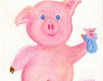 Pig watercolors painting original, Piglet with Pig in a Blanket toy, Original watercolor painting, Nursery, whimsical children's decor