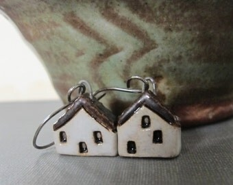 House Earrings, Silver Earrings, Stoneware Earrings, Stoneware Houses, Clay Earrings,White and Black, White Houses