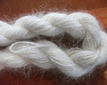 White angora  ONE SKEIN  Natural white 100% angora bunny rabbit fur knitting yarn