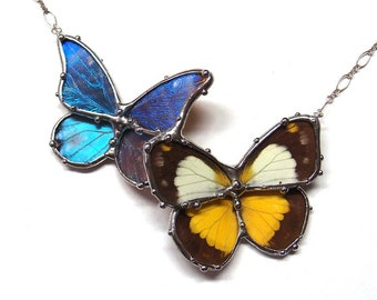 Real Butterfly Necklace - Blue morpho butterfly and Yellow and Black Butterfly - Statement necklace, perfect for a Woodland Garden Wedding