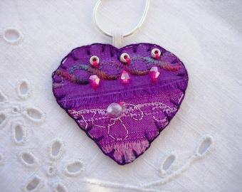 Purple Heart Silk Pendant with Amethyst Crystals