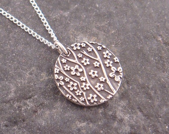 Small Round Cherry Blossom Pendant in Sterling Silver