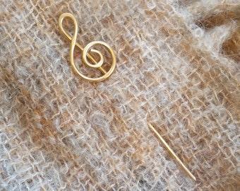 Treble Clef Brass Hair Stick, Gifts for Musicians Shawl Stick, Musician Gift Bun Holder Hair Pin, Music, Women, Long Hair Accessories