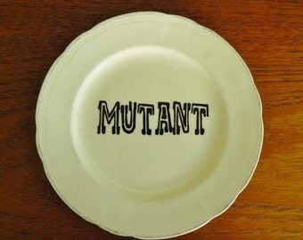 Mutant hand painted vintage china bread and butter plate with hanger recycled humor display sci fi comic book fans SALE