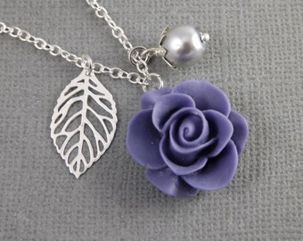 Purple and Gray Flower and Leaf Charm Wedding Bridesmaids Necklace