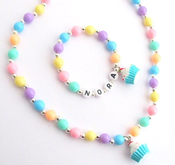 Party Favor Charm Bracelet Cupcake, Children's Jewelry  Accessories, Name Bracelet for Baby Toddler Child and Kids